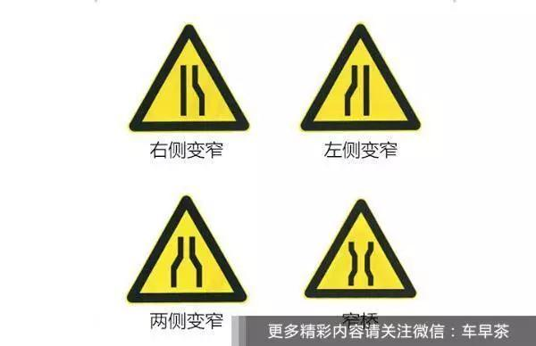 前方道路变窄标识.图片