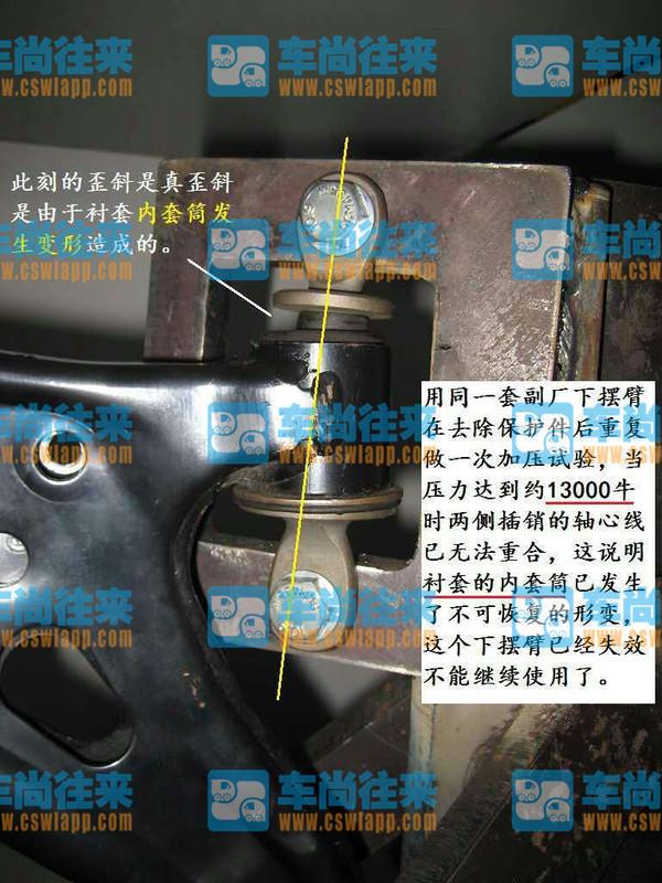 缺陷测试上汽通用昂科威分体式衬套强度测试第一期