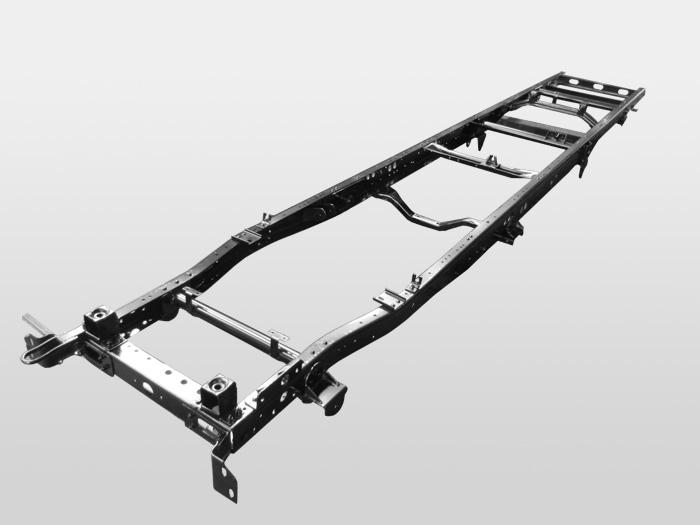 也就是俗称的汽车大梁,一般由两根纵梁以及几根横梁组成的钢架结构,作