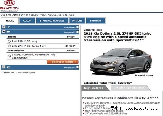 2011款起亚Optima公布售价 18495美元起