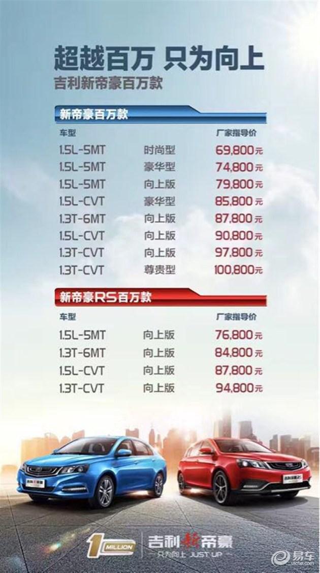 吉利帝豪百万款上市 售6.98万-10.08万元