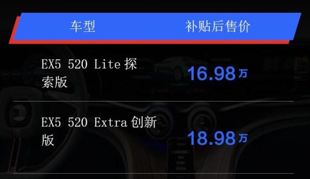 威马EX5 520车型上市 补贴后售16.98-18.98万