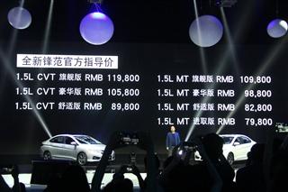 本田全新锋范上市 售7.98万-11.98万元