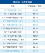 瑞风S7新增8款车型 预售价10.98-15.18万元