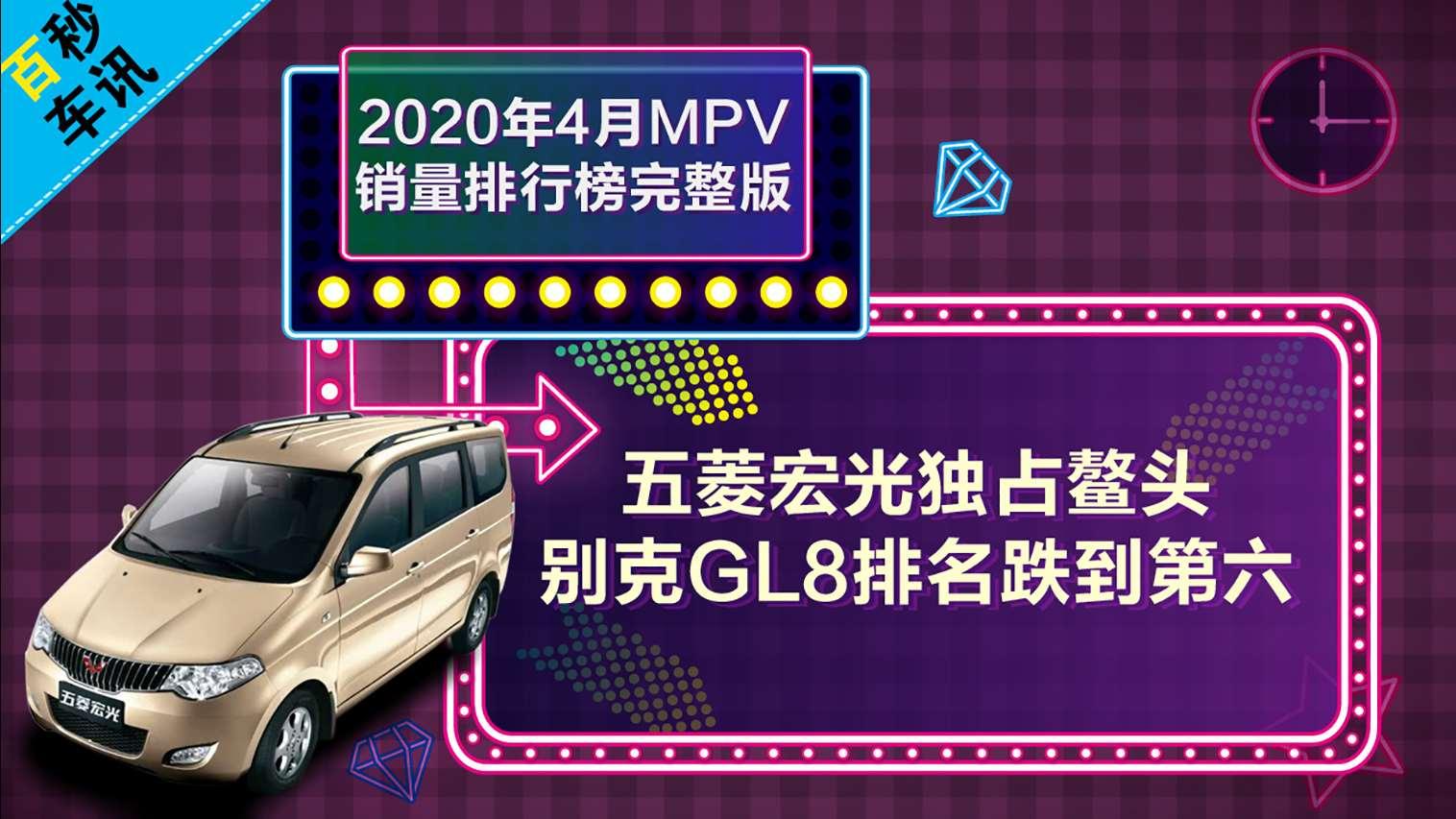 【百秒车讯】2020年4月MPV销量出炉,五菱宏光独占鳌头