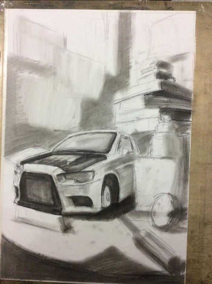 设计素描下的汽车
