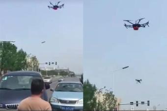 无人机处理交通事故 你见过吗?这个视频如今在微信群疯传