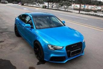 汽车车身改色贴膜奥迪A5全车换极光糖果浅蓝案例