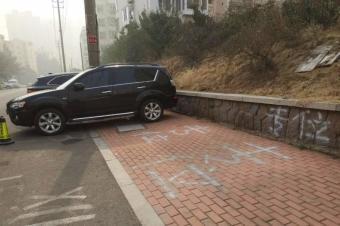 """为省200元,奔驰车主竟自备工具画""""专属""""停车位!结果被罚惨"""