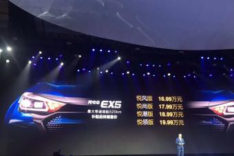 售16.99-19.99万 北汽新能源EX5正式上市