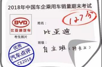 2018中国车市期末考试成绩榜:比亚迪汽车