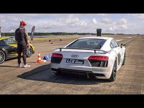 【视频】一排豪车中,第一眼就看到了你,900马力的双涡轮增压奥迪R8 V10
