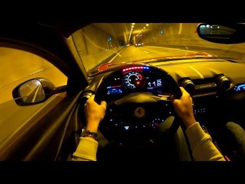 试驾第一视角:法拉利812 超快速度通过隧道,太刺激了