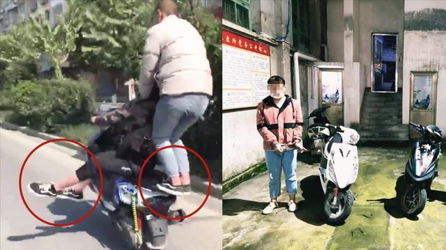 """太疯狂!实拍:广西""""飙车党""""少年侧骑摩托车闹市炫技 结局悲剧"""