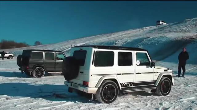 奔驰G63 vs 雷克萨斯LX570 雪地爬坡+拔河对决