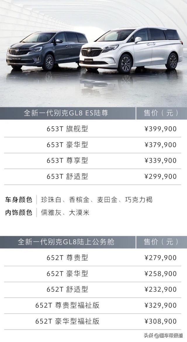 新款别克GL8 ES/GL8正式上市,售价如何?