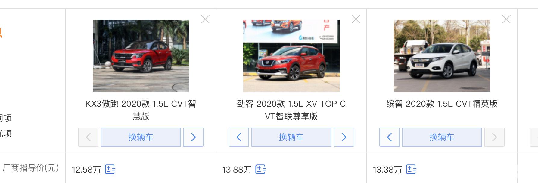 10万级合资SUV,本田缤智、起亚傲跑、日产劲客怎么选?