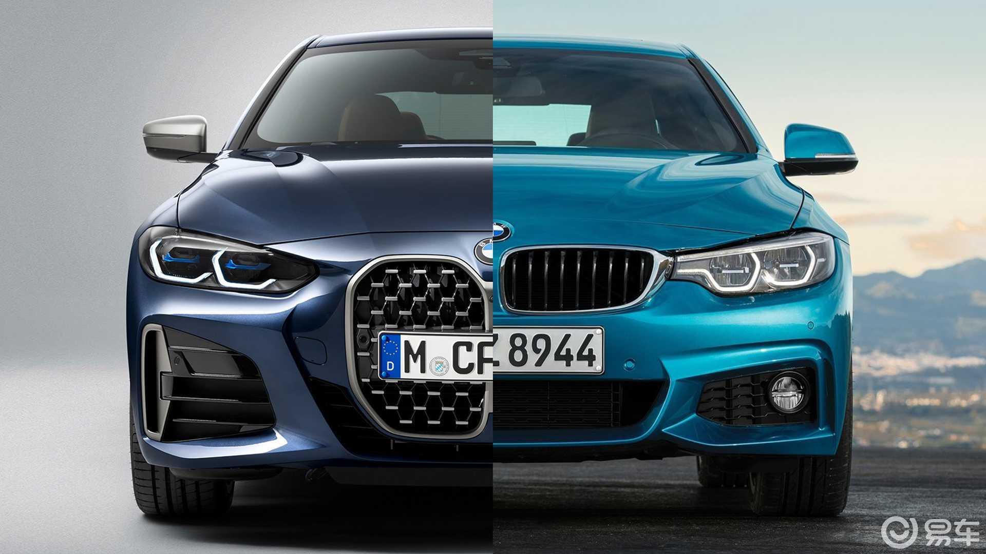 更加跑车化的设计取向,全新宝马4系外观内饰对比上一代车型