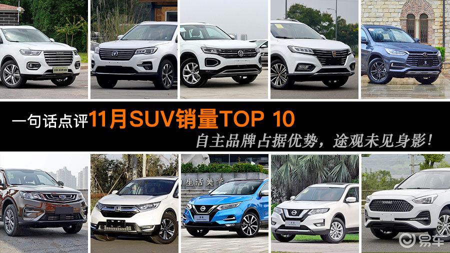 一句话点评11月SUV销量Top10:自主品牌占据优势!
